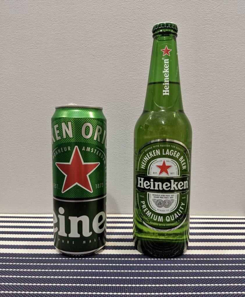 бутылка и банка хейнекен